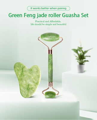 quartz jade roller guasha beauty facial massage green noiseless Zinc alloy integrated frame jade rol